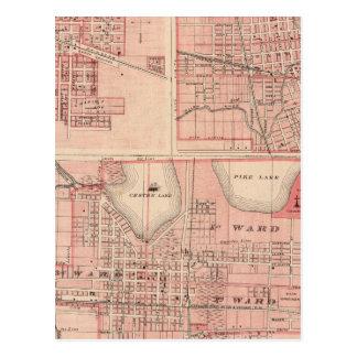 Plan von Warschau mit Pierceton, Plymouth Postkarte