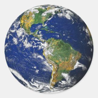 Planeten-Erde Runder Aufkleber