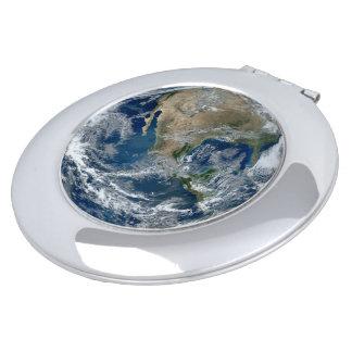 Planeten-Erde vom Weltraum mit Wolken Taschenspiegel