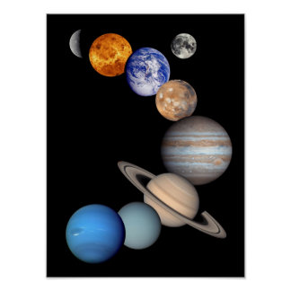 Planeten-Fotos Solarsystemmontage-JPL Poster