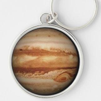 PLANETEN-JUPITER V.2 (Sonnensystem) ~ Silberfarbener Runder Schlüsselanhänger