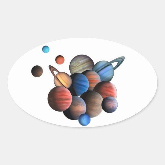 Planeten Ovaler Aufkleber