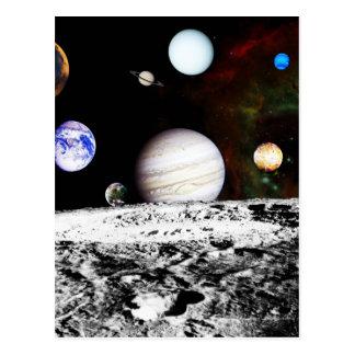 Planeten-Panorama von der Oberfläche des Mondes Postkarte
