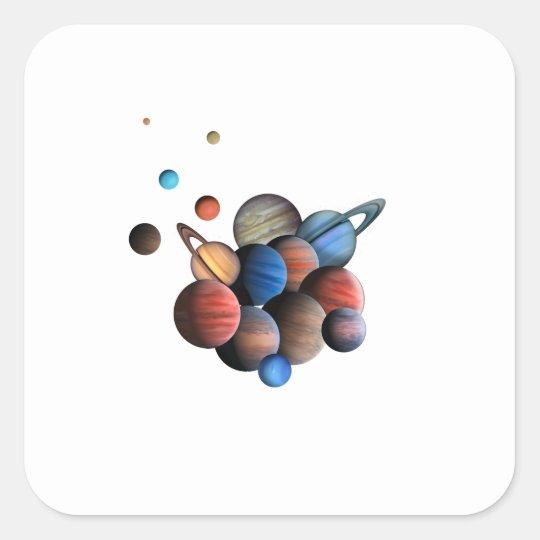 Planeten Quadratischer Aufkleber