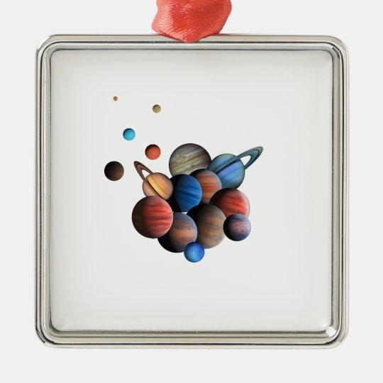 Planeten Quadratisches Silberfarbenes Ornament