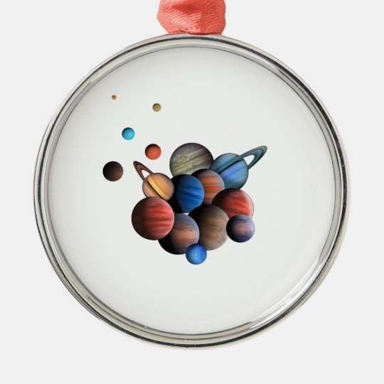 Planeten Rundes Silberfarbenes Ornament