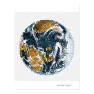 Planetenerde und -wolken gesehen vom Raum Postkarte