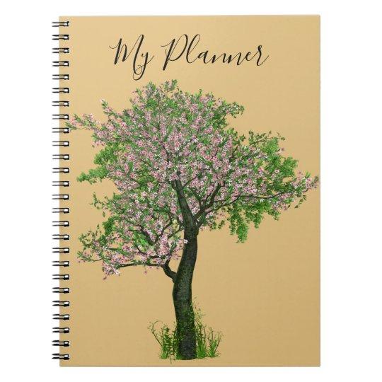 Planner tree cherry blossoms gold spiral notizblock