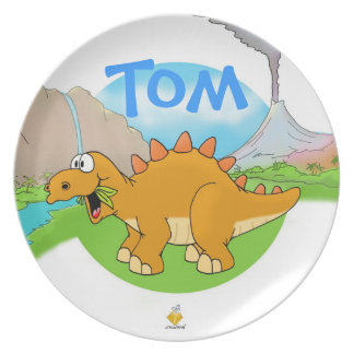 "plate for kids with name ""DINOS"" Teller"