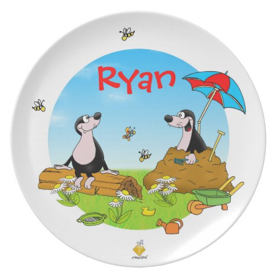 "plate for kids with name ""MOLES"" Teller"