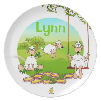 "plate for kids with name ""SHEEP"" Teller"