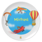 """plate with name for kids """"LITTLE PILOTS"""" Teller"""
