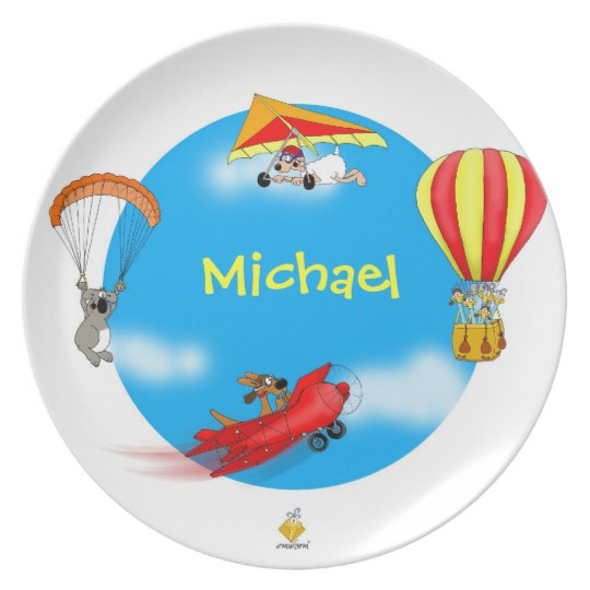 "plate with name for kids ""LITTLE PILOTS"" Teller"
