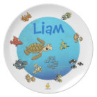 """plate with name for kids """"under the sea"""" teller"""