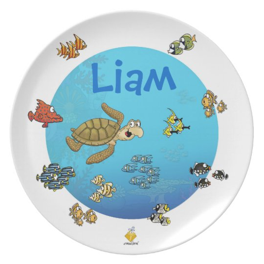 "plate with name for kids ""under the sea"" teller"