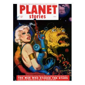 Platin blond und ihr Monster-Freund Postkarte