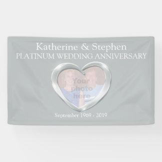 Platin-Hochzeitsjahrestags-Herz-Fotofahne Banner