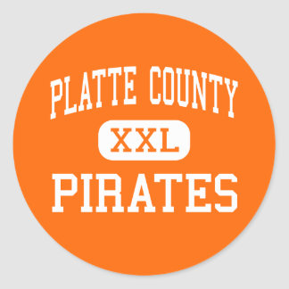 Platte County - Piraten - hoch - Platte-Stadt Runder Sticker