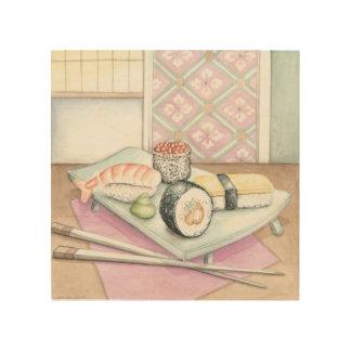 Platte der sortierten Sushi mit Essstäbchen Holzdruck