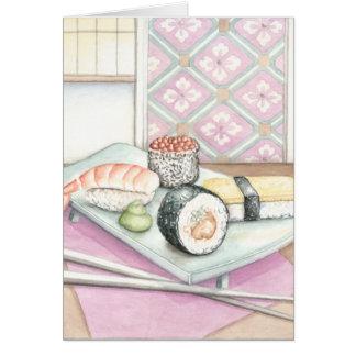Platte der sortierten Sushi mit Essstäbchen Karte