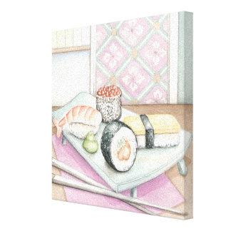 Platte der sortierten Sushi mit Essstäbchen Leinwanddruck
