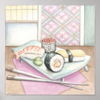 Platte der sortierten Sushi mit Essstäbchen Poster