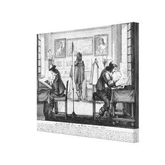 Platte Engravers, die mit Galerie arbeiten Gespannte Galeriedrucke