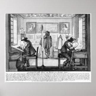 Platte Engravers, die mit Galerie arbeiten Poster