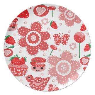 Platte, Tasse, Erdbeeren Flache Teller