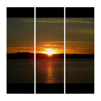 Platten-Druck der Sonnenuntergang-Migrations-3 Triptychon
