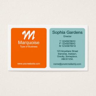 Platten - orange und hellblaues Grün Visitenkarte