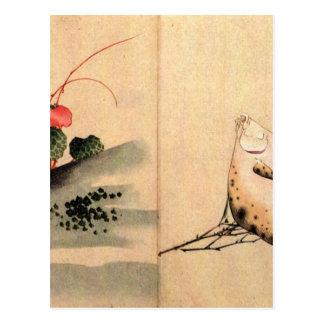 Plattfische und Rosa durch Katsushika Hokusai Postkarte