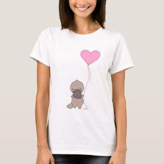 Platypus, das Herz-Ballon hält T-Shirt