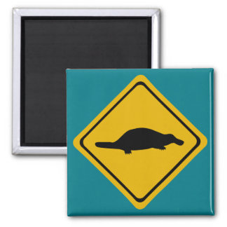 platypus Verkehrsschild Quadratischer Magnet