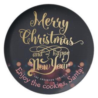 Plätzchen für schwarzes Goldweihnachten Sankt u. Melaminteller