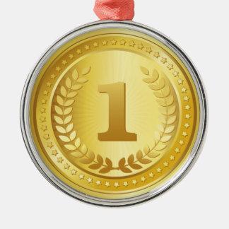Platzsiegerknopf der Goldmedaille 1. Rundes Silberfarbenes Ornament