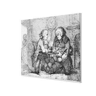 Plaudern, Illustration Gespannter Galerie Druck