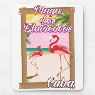 Playa Los Flamenco-Kuba-Reiseplakat Mauspad