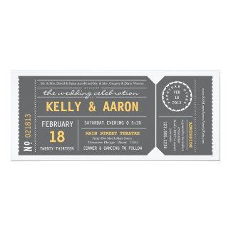 Playbill Theater-Karten-Hochzeits-Einladung - Grau