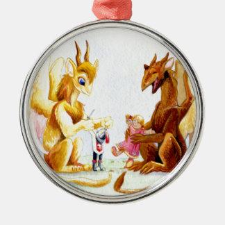 Playdate Rundes Silberfarbenes Ornament