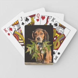 Playful Beagle-Welpe mit Blätter Spielkarten