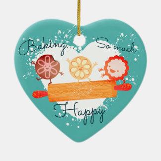 Playful Plätzchen, die Button Weihnachtsverzierung Keramik Herz-Ornament