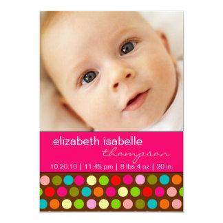 Playful Polka-Punkt-Baby-Mädchen-Foto-Mitteilung 12,7 X 17,8 Cm Einladungskarte