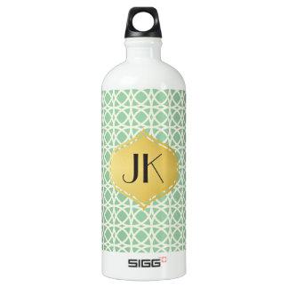 Playfully cooles geometrisches Form-Goldmonogramm Wasserflasche