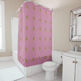 Playfully entzückender gelber u. schwarzer duschvorhang