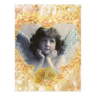 Pleasance - Engel in einem gelben Herzen Postkarte