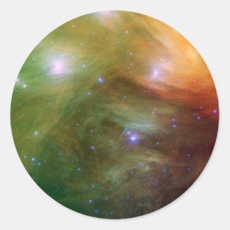 Pleiades Sterne in Infrarot-SSC2007 07A Runder Aufkleber