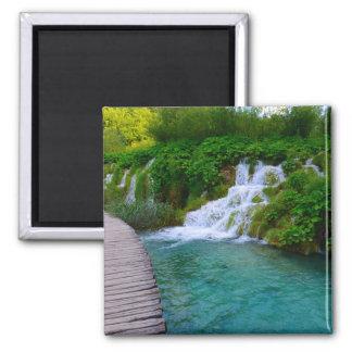 Plitvice Nationalpark in Kroatien-Wanderwegen Quadratischer Magnet