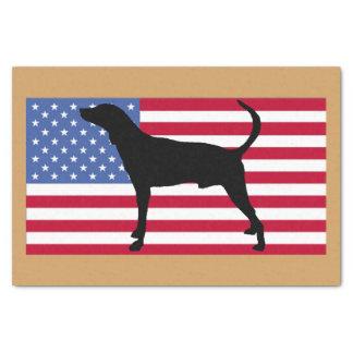 plott Jagdhund-Silhouette USAflagge Seidenpapier
