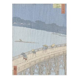 Plötzliche Dusche auf Ohashi Brücke bei Ataka Postkarte
